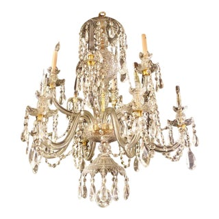 Waterford Style 1940 Cut Crystal Chandelier With Palatial Center Column Sphere For Sale