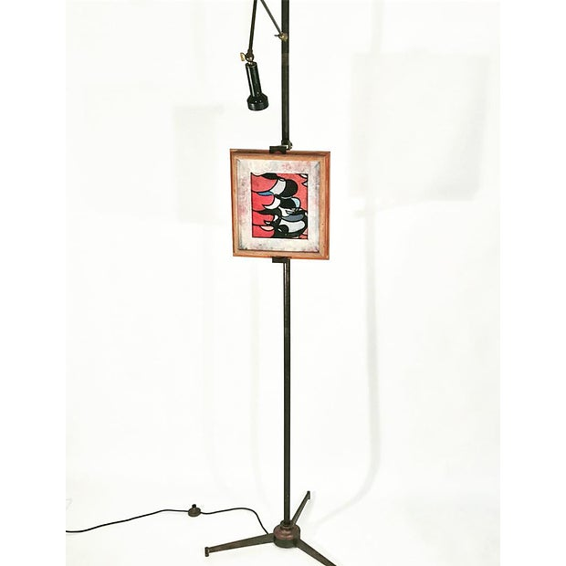 Arredoluce Easel Lamp by Angelo Lelli. Easel holds artwork, shown here with a sample painting. Width is length of lighted...