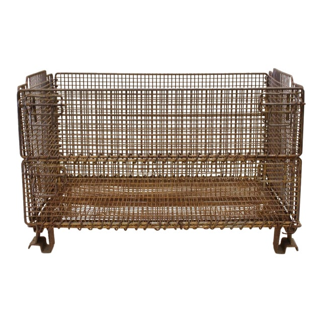 1930's Vintage American Industrial Collapsible Wire Baskets For Sale