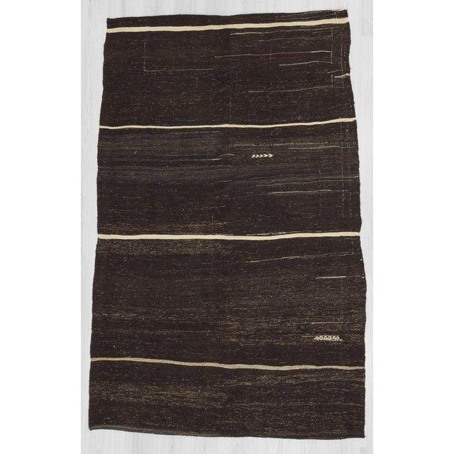 Vintage Turkish White Striped Black Goat Hair Kilim Rug - 5′2″ × 8′3″ For Sale In Los Angeles - Image 6 of 6