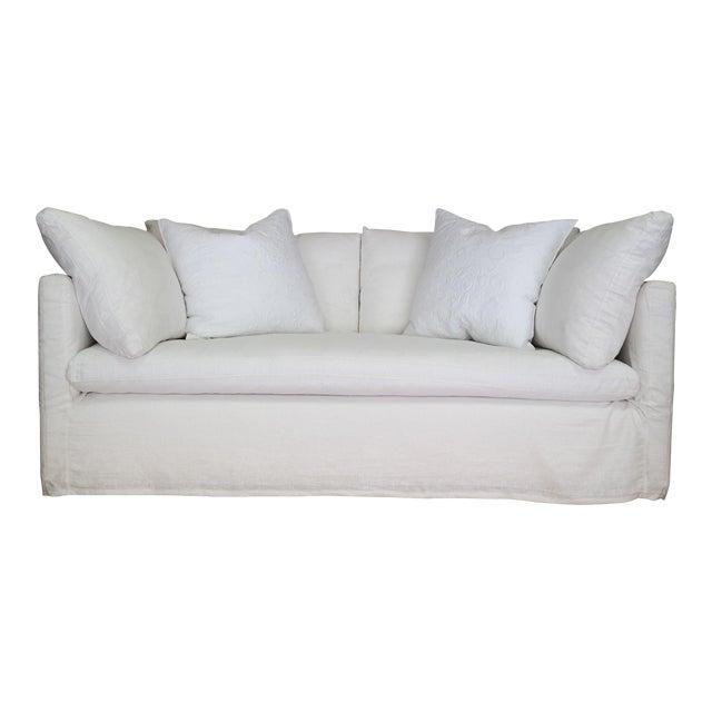Custom Designer White Linen Slipcovered Sofa - Image 1 of 11