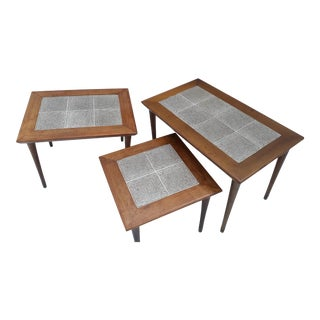 Danish Modern Mahogany and Tile Set of 3 Nesting Tables For Sale