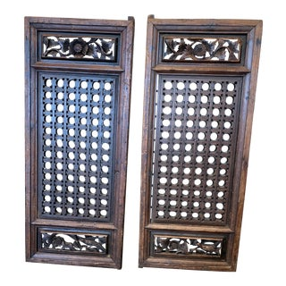 Asian Bird Set of Floral Carved Wood Panels/Doors - a Pair For Sale
