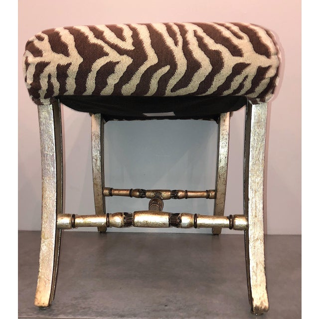 Brown Hollywood Regency Silver Gilt Zebra Benches - a Pair For Sale - Image 8 of 13