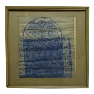 Framed & Matted Gravestone Tombstone Rubbing, Died August 1687 For Sale