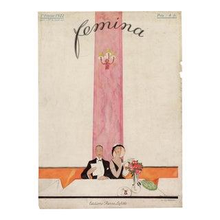 """Femina, February 1922"". Original French Fashion Magazine Cover For Sale"
