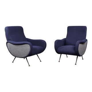 "Pair of Sculptural Lounge Chairs in the Style of the Marco Zanuso ""Lady"" For Sale"