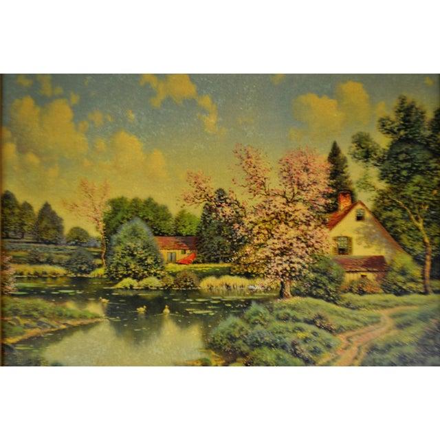 Vintage Gilt Framed Landscape Print on Textured Board For Sale - Image 4 of 13