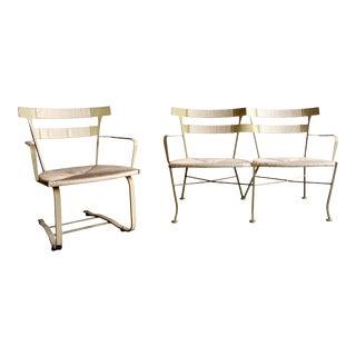 Mid Century Modern Woodard Patio Set Settee & Lounge Chair For Sale