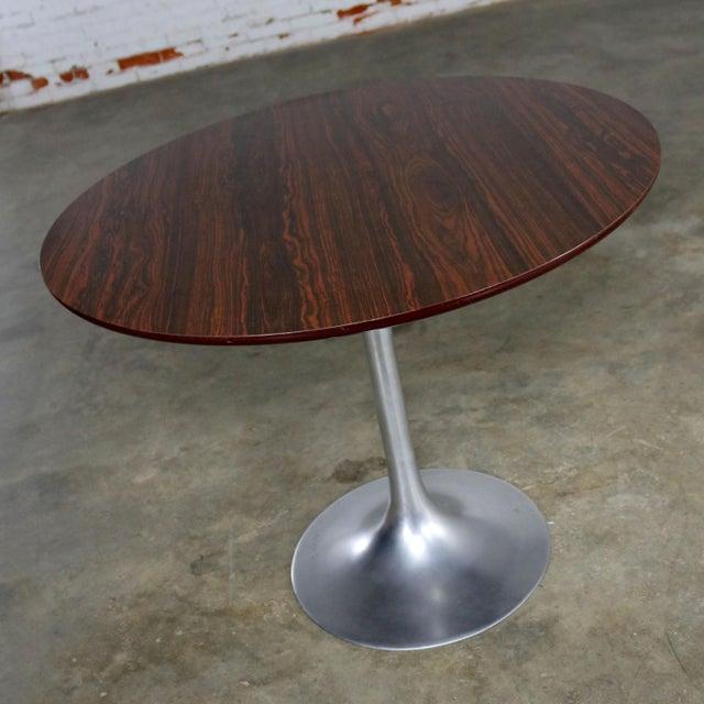 Burke Saarinen Style Tulip Base Table in Aluminum with Woodgrain Laminate Top For Sale - Image 4 of 11