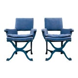 Image of 1950s Vintage Dorothy Draper Upholstered Campaign Chairs- A Pair For Sale