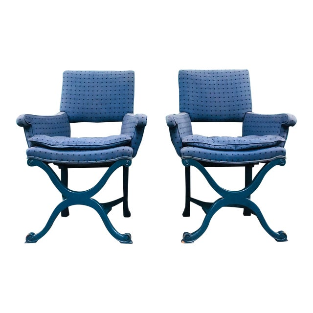 1950s Vintage Dorothy Draper Upholstered Campaign Chairs- A Pair For Sale
