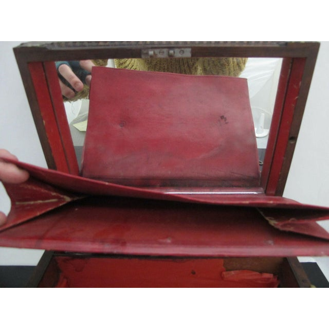Antique Wood Vanity Jewelry Box Glass with Sterling Silver Jars & Key Betty Mono For Sale - Image 4 of 12