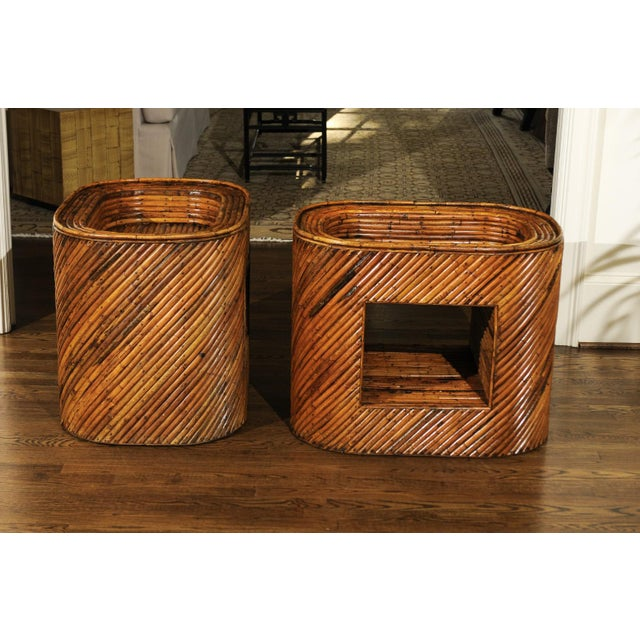 Wood Exceptional Restored Pair of Bamboo Display End Tables, circa 1975 For Sale - Image 7 of 13