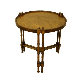 "20th Century Asian Brandt Hagerstown Faux Bamboo 26"" Round Accent Table For Sale"