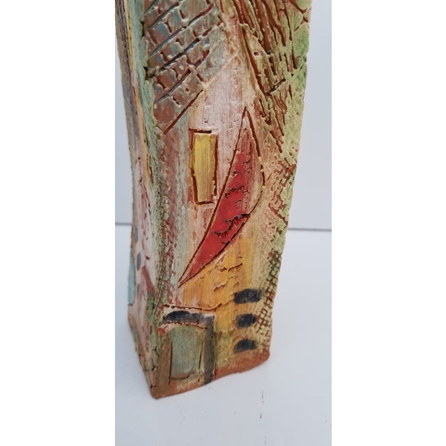 1980s Brutalist Hand-Painted Cubist Shape Pottery Vase For Sale In Miami - Image 6 of 12