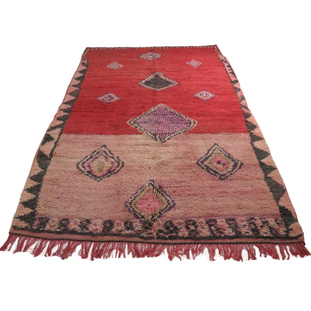 Vintage Moroccan rug handwoven in muted pink, red, lavender and black wool in an abstract Berber pattern. Dimensions: 5'5...