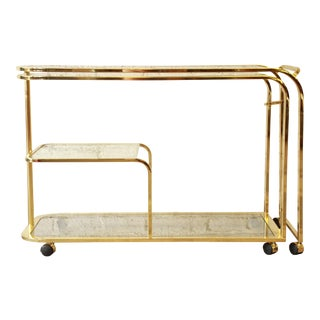 Milo Baughman for DIA Expandable Brass and Glass Bar Cart For Sale
