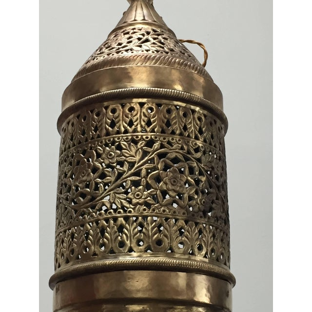 Moroccan Moorish Style Brass Pendant Light Fixture For Sale In Los Angeles - Image 6 of 7