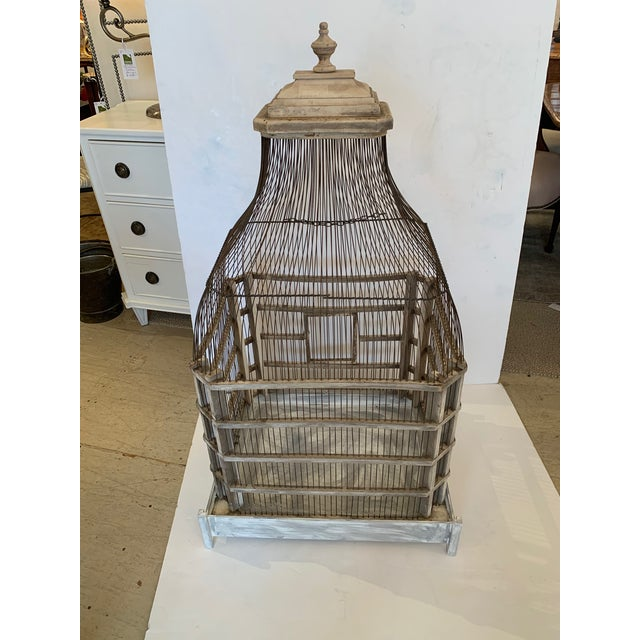 Large Painted Grey Wood & Wire Birdcage For Sale - Image 9 of 12