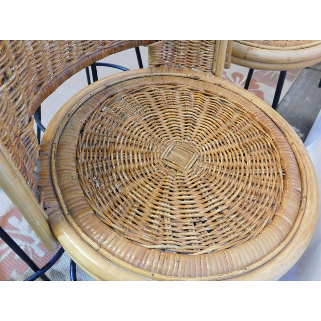Mid-Century Wicker Bar Stools - Set of 4 - Image 7 of 8