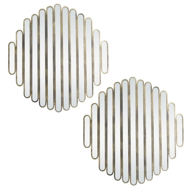Modern Unusual Unique Metal Mirrors, A-Pair For Sale