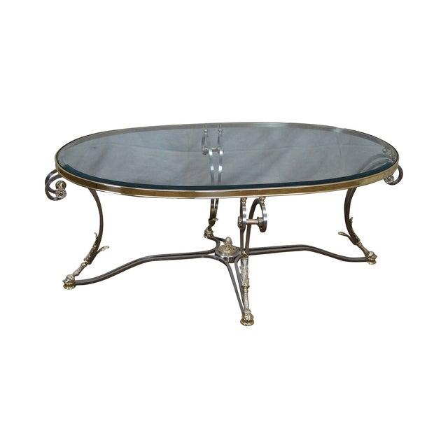 LaBarge Regency Brushed Steel & Brass Coffee Table - Image 1 of 10