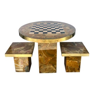 Italian Chess Game Table With 2 Stools For Sale