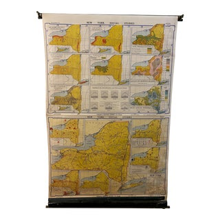1930s Yellow New York State School House Map For Sale