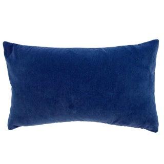 FirmaMenta Italian Solid Navy Blue Velvet Lumbar Pillow Cover For Sale
