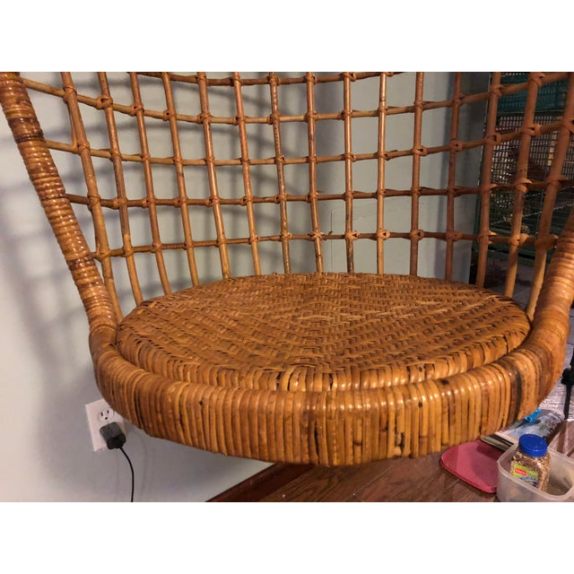Mid-Century Ficks and Reed Style Bamboo Hanging Chair For Sale In Cleveland - Image 6 of 10