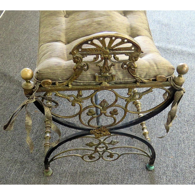 Late 19th Century Antique Regency Style Iron Bench For Sale - Image 5 of 6