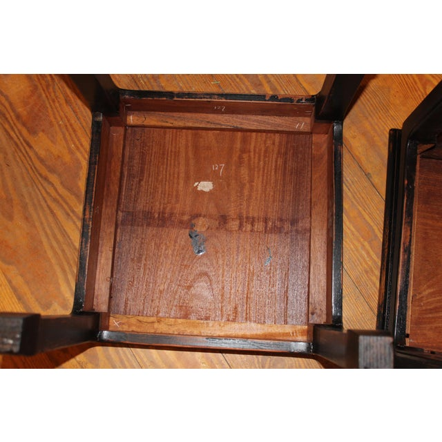 1960s Black Chinese End Tables - a Pair For Sale - Image 4 of 7