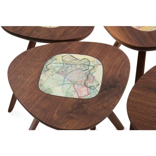 Allen Ditson Four Lee Porzio & Allen Ditson Walnut Ceramic Side Tables For Sale - Image 4 of 11
