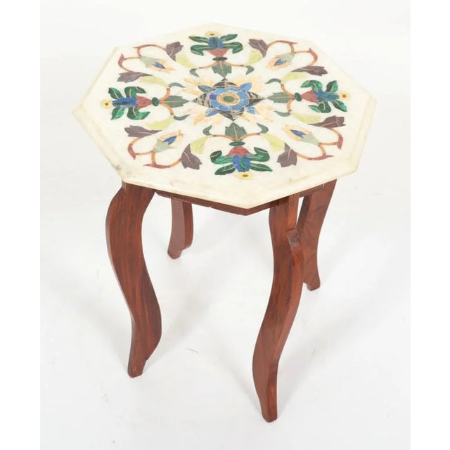 Indian Vintage Hardstone Inlaid Marble Top Octagonal Side Table For Sale - Image 3 of 12