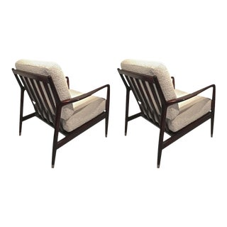 Arne Vodder Pair of Lounge Chairs With Tapered Gold Metal End's Leg
