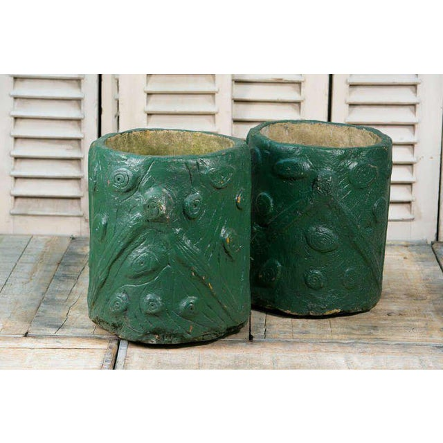 Pair French Green Cement Faux Bois Planters, circa 1940 - Image 3 of 4