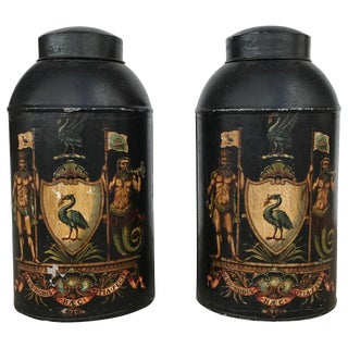 Pair of English Tole Tea Canisters For Sale