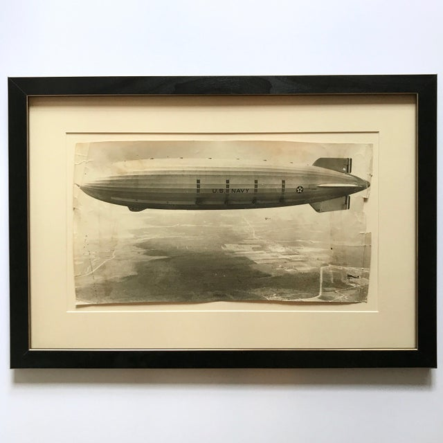 Black & White Photography 1931 Framed Vintage Navy Airship Akron Photo For Sale - Image 7 of 7