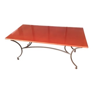 Indoor/Outdoor Lava Stone Dining Table on Iron Base For Sale
