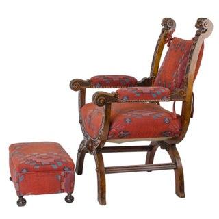 Renaissance Style Carved Walnut Savonarola Chair & Ottoman Preview