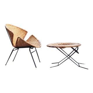 1950s Maurizio Tempestini Salterini Mid-Century Clamshell Bucket Chair & Ottoman For Sale