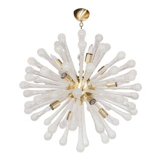 Clear Murano Glass Sputnik Chandelier with Brass Fittings For Sale