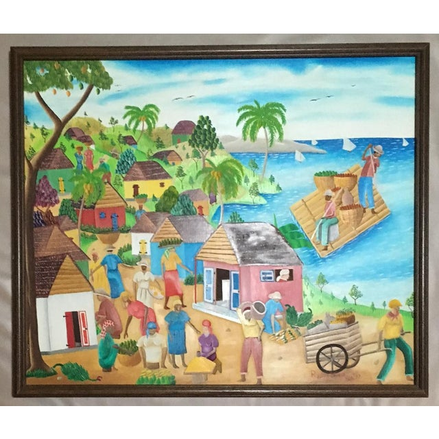 Blue sky, blue water.... Doesn't this just look like The Life? Painted by well-known Haitian artist in 1977, this is a...