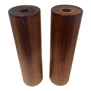 1960s Danish Modern Cylindrical Afromosia Candlesticks - a Pair For Sale