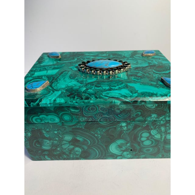 Malachite Box With Semi Precious Stones Set in Sterling For Sale In Los Angeles - Image 6 of 12