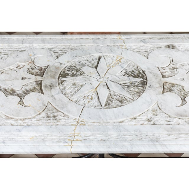19th Century Castel Franco Hand Chiseled Marble Table with Iron Base For Sale In Los Angeles - Image 6 of 12