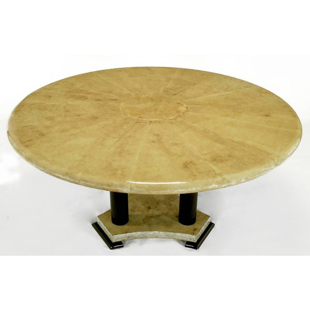Mid-Century Modern Empire Dining Table with Sunburst Goatskin Top and Chocolate Lacquer Base For Sale - Image 3 of 9