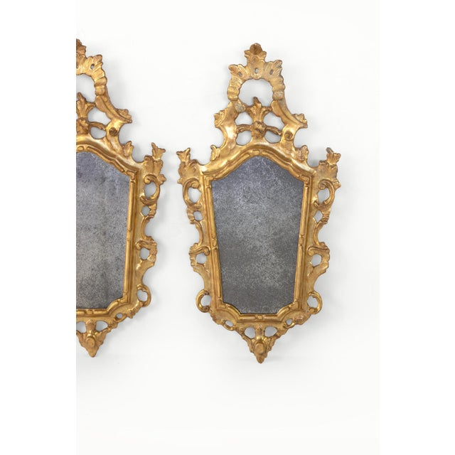 Late 19th Century Pair of Small-Scale Carved French Rococo Style Mirrors; France, Circa 1890 For Sale - Image 5 of 7