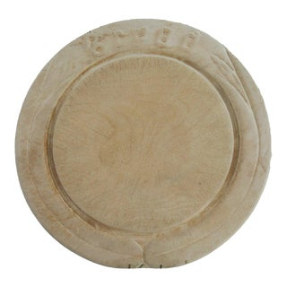 Antique French Carved Wood Round Cutting Serving Bread Board For Sale